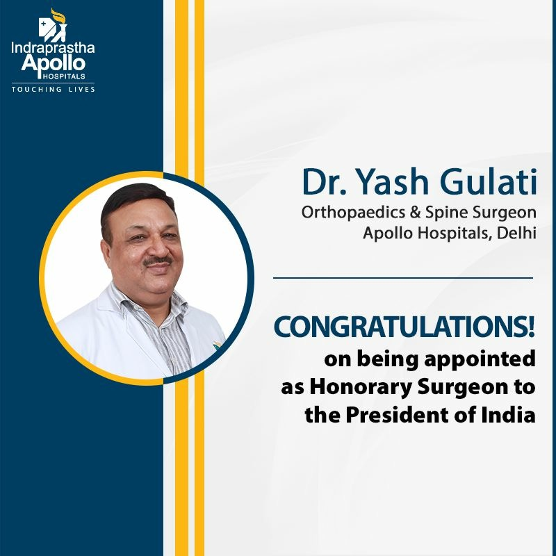 Dr Yash Gulati appointed as Honorary Surgeon to the President of India.