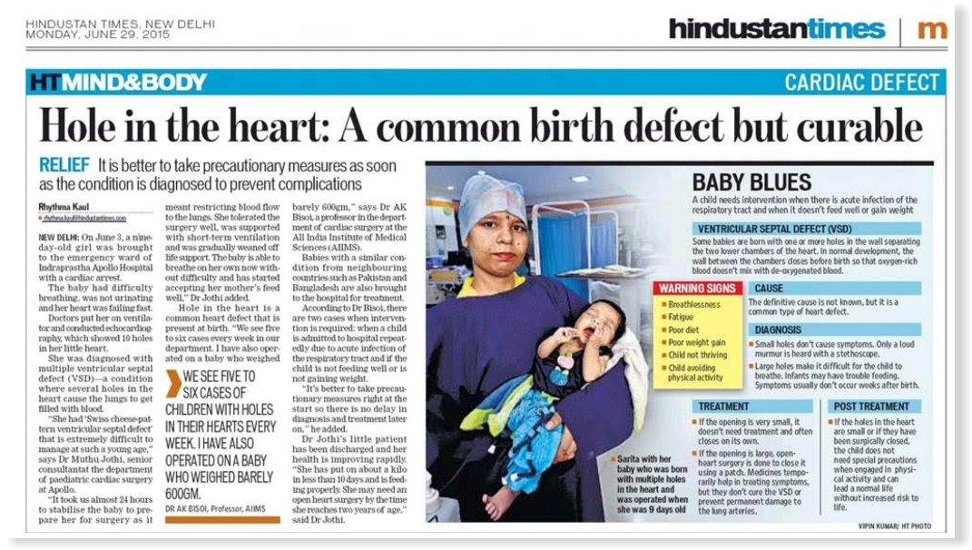 A Little Heart With Multiple Holes Beats Happily After Cardiac Surgery Indraprastha Apollo Hospitals